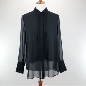 Banana republic black sheer button down dress top
